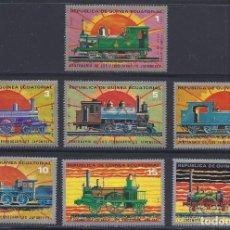 Sellos: GUINEA ECUATORIAL 1972 IVERT 30 Y AEREO 15 *** CENTENARIO DEL FERROCARRIL JAPONES - TRENES. Lote 119989411