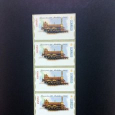 Sellos: ESPAÑA.ATMS.AÑO 2001/ TIRA DE 5 ETIQUETAS POSTAL LOCOMOTORA ANTIGUA.. Lote 123388835