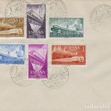 Sellos: AÑO 1958, 150 ANIVERSARIO DEL FERROCARRIL DE MATARO, CON LA SERIE COMPLETA DE FERROCARRIL . Lote 124176303