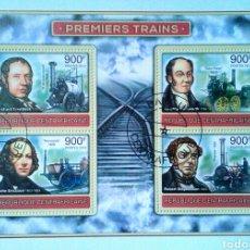 Sellos: PIONEROS DEL FERROCARRIL HOJA BLOQUE DE SELLOS USADOS DE REPÚBLICA CENTROAFRICANA. Lote 124646462