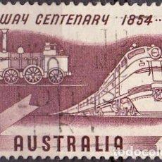 Timbres: 1954 - AUSTRALIA - CENTENARIO DEL FERROCARRIL - LOCOMOTORAS DE 1854 Y 1954 - YVERT 213. Lote 131890790
