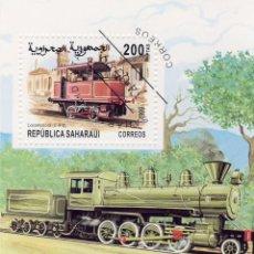 Timbres: REPUBLICA SAHARAUI 1999 HOJA BLOQUE TEMATICA TRENES -TREN - LOCOMOTORA- TRAINS . Lote 135588266