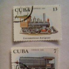 Sellos: LOTE DE 2 SELLOS DE CUBA : TRENES ANTIGUOS.. Lote 136216746