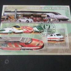 Sellos: HB GUINEA-BISSAU MTDA/2006/TRENES ALTA VELOCIDAD/LOCOMOTORAS/CAMION/MOTO/METRO/TRANVIA/COCHE. Lote 207176522