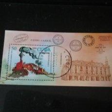 Timbres: HB R. CUBA MTDAS/1980/LOCOMOTORAS/7TH EXP. FILATELIA NACIONAL/TRENES/MAQUINA VAPOR/ESTACION/ARQUITEC. Lote 143811105