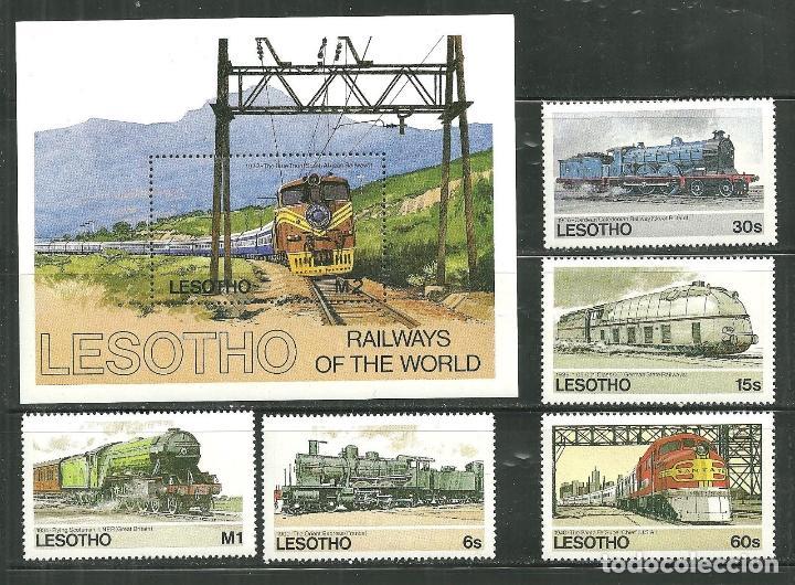 LESOTHO 1984 IVERT 600/4 Y HB 27 *** LOCOMOTORAS Y TRENES CÉLEBRES (Sellos - Temáticas - Trenes y Tranvias)