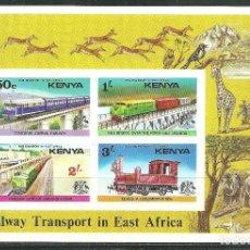 Sellos: KENYA 1976 HB IVERT 2 *** TRASPORTES FERROVIARIOS EN AFRICA DEL ESTE - TRENES. Lote 147319290