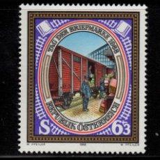 Sellos: AUSTRIA 1771** - AÑO 1988 - TRENES - VAGON POSTAL - DIA DEL SELLO. Lote 149843482