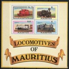 Sellos: MAURICIO 1979 HB IVERT 9 *** FERROCARRILES DE ISLA MAURICIO - LOCOMOTORAS - TRENES. Lote 152189718