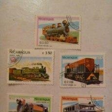 Sellos: LOTE DE 5 SELLOS DE NICARAGUA : TRENES ANTIGUOS. Lote 152190606