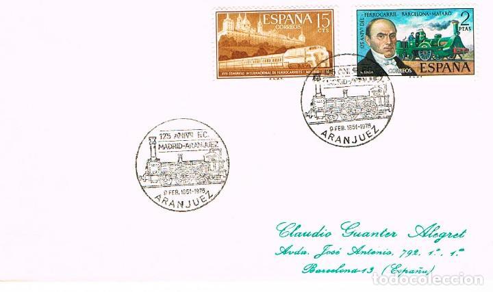 AÑO 1976, ARANJUEZ (MADRID), 125 ANIVERSARIO DEL FERROCARRIL MADRID-ARANJUEZ (Sellos - Temáticas - Trenes y Tranvias)