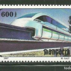 Sellos: MONGOLIA 1997 IVERT 2140 *** TRENES - LOCOMOTORAS - TREN MAGNETICO EUROPEO. Lote 159739914