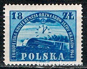 POLONIA Nº 476, CONFERENCIA EUROPEA PROGRAMACIÓN FERROVIARIA, CRACOVIA, 1948 (HORARIOS), NUEVO *** (Sellos - Temáticas - Trenes y Tranvias)