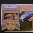 Sellos: TRANSPORTE-TRENES-TGV(FRANCIA)-GUINEA-2012-BLOQUE**(MNH). Lote 160167950