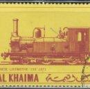 Sellos: RAS AL KHAIMA (EMIRATOS ARABES) Nº 5, PRIMER LOCOMOTORA JAPONESA, LOCOMOTORA 150 DEL AÑO 1871, USADO. Lote 160836730