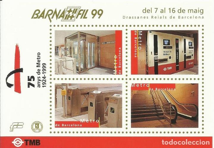 75 ANYS DE METRO 1924-1999. BARNAFIL 99. TMB. DRASSANES REIALS DE BARCELONA. BUEN ESTADO. (Sellos - Temáticas - Trenes y Tranvias)