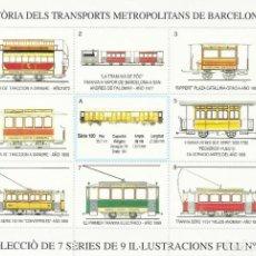 Sellos: 75È ANIVERSARI DEL FERROCARRIL METROPOLITÀ. HISTÒRIA DELS TRANSPORTS METROPOLITANS DE BARCELONA 1999. Lote 164961506