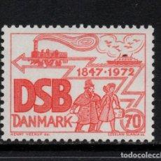 Sellos: DINAMARCA 537** - AÑO 1972 - TRENES - 125º ANIVERSARIO DEL FERROCARRIL DANES. Lote 179339035