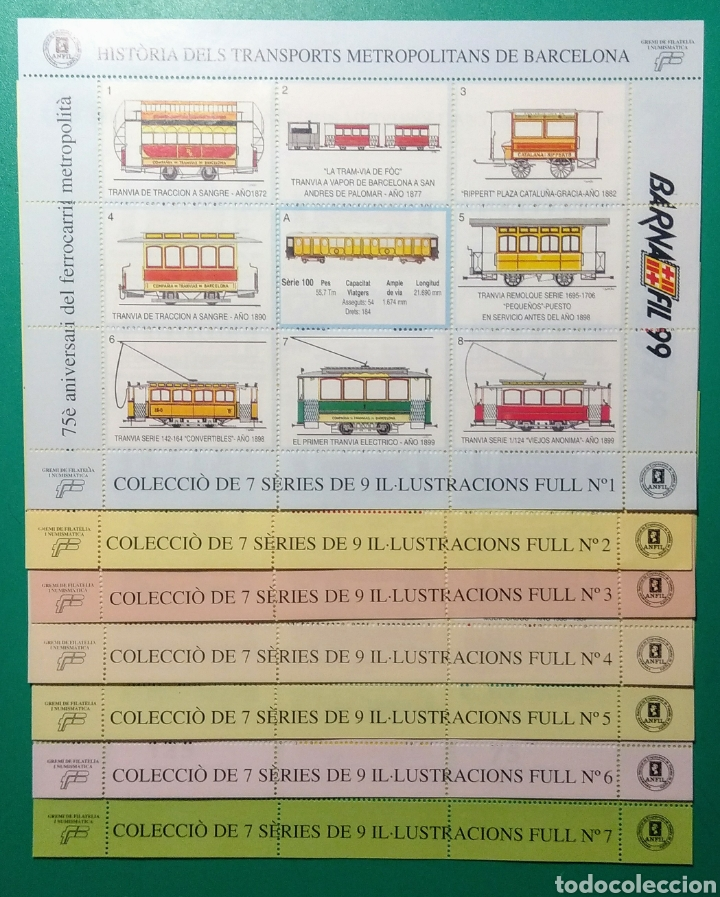 1999. 7 HOJAS. BARNAFIL. HISTÒRIA DELS TRANSPORTS. (Sellos - Temáticas - Trenes y Tranvias)