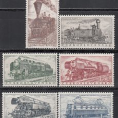 Francobolli: CHECOSLOVAQUIA , 1956 YVERT Nº 875 / 880 /**/, TRENES, LOCOMOTORAS ANTIGUAS. . Lote 173522805