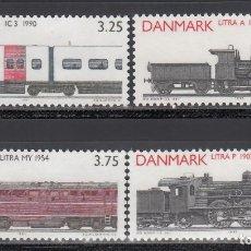 Francobolli: DINAMARCA , 1991 YVERT Nº 999 / 1002 /**/, TRENES, LOCOMOTORAS ANTIGUAS. . Lote 173523038