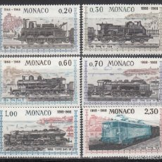 Francobolli: MONACO, 1968 YVERT Nº 752 / 757 /**/, TRENES, LOCOMOTORAS ANTIGUAS.. Lote 173523547
