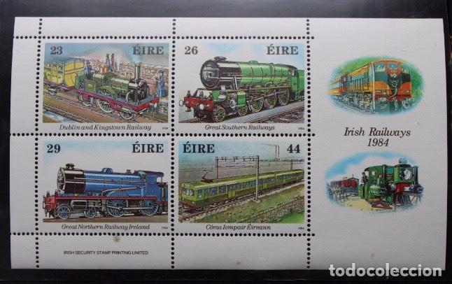 HOJA BLOQUE DE 4 SELLOS TRENES IRLANDA 1984 (Sellos - Temáticas - Trenes y Tranvias)