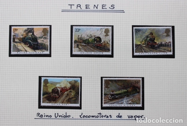 5 SELLOS TRENES REINO UNIDO INGLATERRA 1985 (Sellos - Temáticas - Trenes y Tranvias)