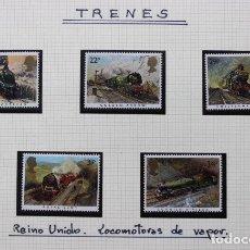 Sellos: 5 SELLOS TRENES REINO UNIDO INGLATERRA 1985. Lote 174249070