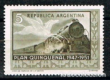 ARGENTNA 607, PLAN QUINQUENAL 1947-1951, FERROCARRIL, NUEVO *** (Sellos - Temáticas - Trenes y Tranvias)