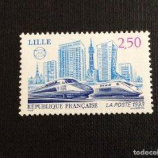 Sellos: FRANCIA Nº YVERT 2811*** AÑO 1993. TREN TGV. CONGRESO FEDERACION SOCIEDADES FILATELICAS, EN LILLE. Lote 178912885