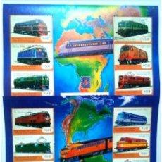Sellos: GUINEA TRENES ANTIGUOS 2 HOJAS BLOQUE DE SELLOS NUEVOS. Lote 179096263