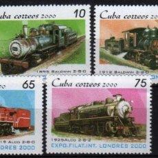 Sellos: GIROEXLIBRIS. CUBA.- CUBA.- LONDRES 2000 BONITA SERIE DE 7 SELLOS DE FERROCARRIL - SELLOS NUEVOS. Lote 179962115