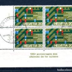 Sellos: BLOQUE DE 4 USADO DE SUIZA -125 ANIVERSARIO DE LOS FERROCARRILES SUIZOS-, AÑO 1972. Lote 180943093