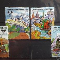 Sellos: SERIE TRENES - DISNEY - DOMINICA - NUEVOS - 4 VALORES - MICKEY MOUSE. Lote 183405191