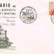 Sellos: AÑO 1955, CENTENARIO DE LA MAQUINISTA TERRESTRE Y MARITIMA (SAN ANDRES), EN SOBRE DE ALFIL. Lote 183415517