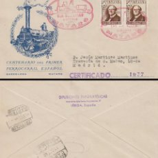 Sellos: EDIFIL Nº 1037, CENTENARIO DEL FERROCARRIL, SOBRE DE PANFILATELICAS CON SELLO MARQUES DE SALAMANCA. Lote 189877550