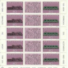 Sellos: HOJITA DE SUIZA IVERT 1148 CENTENARIO FERROCARRIL DEL GOTARDO , NUEVA. Lote 191321300