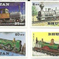 Sellos: SERIE DE 4 SELLOS FERROCARRILES DE BHUTAN. Lote 191321702