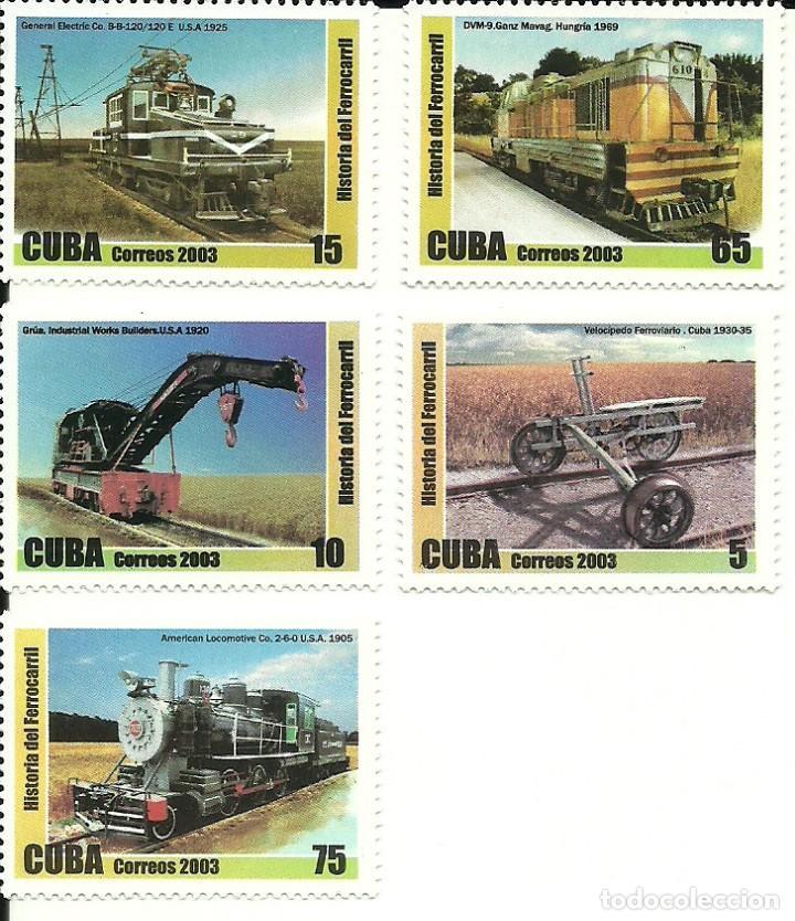 CUBA SERIE DE 5 SELLOS IVERT 4097/101 , CON MATERIAL FERROVIARIO, NUEVOS (Sellos - Temáticas - Trenes y Tranvias)