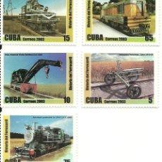 Sellos: SERIE DE 5 SELLOS IVERT 4097/101 CUBA , CON MATERIAL FERROVIARIO, NUEVOS. Lote 191322157