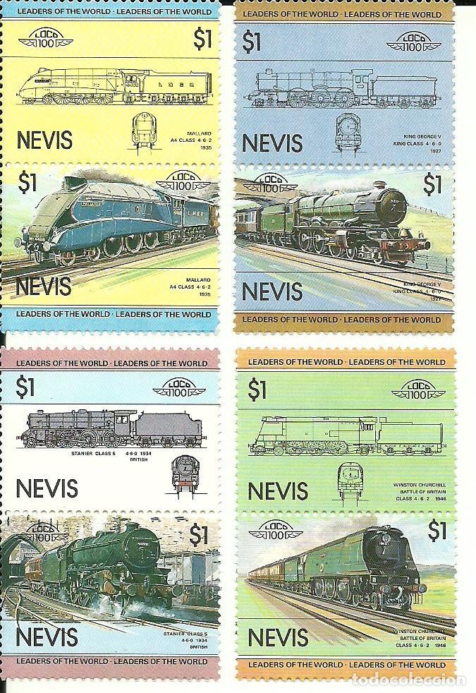 NEVIS SERIE DE 8 SELLOS DE TRENES , NUEVOS , TEMÁTICA FERROCARRILES (Sellos - Temáticas - Trenes y Tranvias)