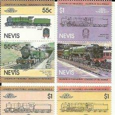 Sellos: SERIE DE 8 SELLOS DE TRENES DE NEVIS , NUEVOS , TEMÁTICA FERROCARRILES. Lote 191359627