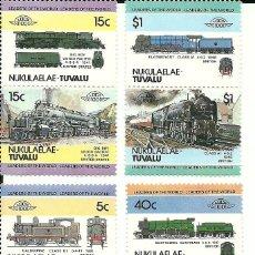 Sellos: SERIE DE 8 SELLOS DE TRENES DE TUVALU , NUEVOS , TEMÁTICA FERROCARRILES. Lote 191359730
