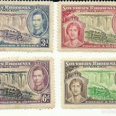 Sellos: RHODESIA SERIE DE 4 SELLOS CON TRENES DEL 1937 , NUEVOS CON CHARNELA. Lote 191361350