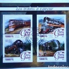 Sellos: TRENES DE VAPOR HOJA BLOQUE DE SELLOS USADOS DE GUINEA. Lote 193838722