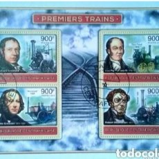 Sellos: PIONEROS DEL FERROCARRIL HOJA BLOQUE DE SELLOS USADOS DE REPÚBLICA CENTROAFRICANA. Lote 193853321