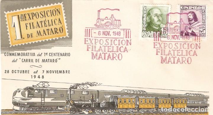 SOBRE 1ª EXP. FILATELICA DEL 1º CENTENARIO CARRIL DE MATARÓ (Sellos - Temáticas - Trenes y Tranvias)