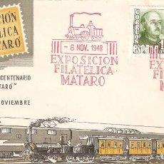 Sellos: SOBRE 1ª EXP. FILATELICA DEL 1º CENTENARIO CARRIL DE MATARÓ. Lote 194666347