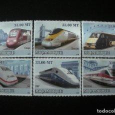 Sellos: MOZAMBIQUE 2009 MICHEL 3198/203 *** HISTORIA DEL TRANSPORTE - TRENES MODERNOS. Lote 198329498